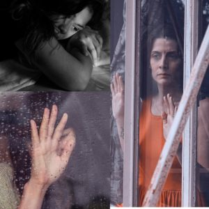collage of women behind glass